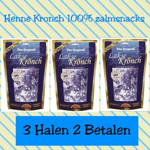 Pakket 4 Henne Kronch 100% Zalmsnacks